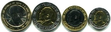 Kenya set of 4 bi-metallic coins: 5 - 40 Shillings KM35.2-37.2 & KM33