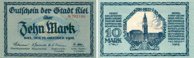 Kiel 10 Mark October 15, 1918 notgeld note