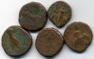 Unidentified Kushan bronze coins