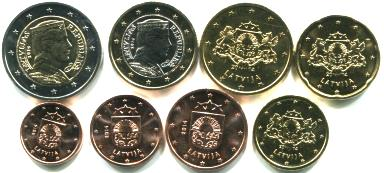 Latvia 8 coin Euro set: 1 Eurocent - 2 Euro