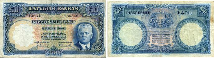 Latvia 50 Latu note, 1934 P20 depicts Karlis Ulmanis