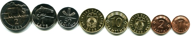 Latvia pre-euro coin set: 1 Santims - bi-metallic 2 Lati