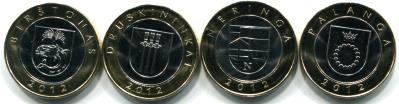 Lithuania set of 4 2 Litai Resort Town circulating commemorative coins