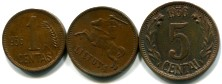 Lithuania bronze 1, 2 and 5 Centai 1936 KM79-81