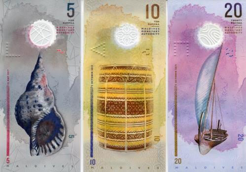 Backs of Maldive 5, 10 & 20 Rufiyaa notes 2015-2017 PA26-P27