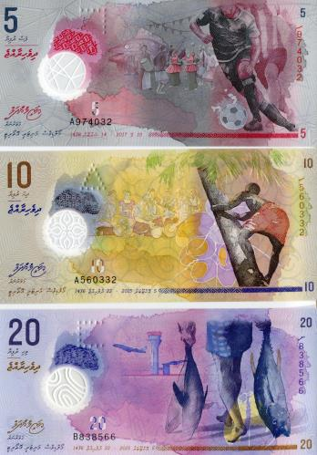 Fronts of Maldive 5, 10 & 20 Rufiyaa notes 2015-2017 PA26-P27