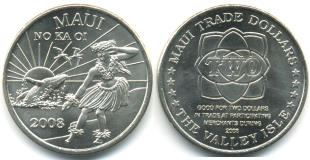 Maui 2008 Trade Dollar features Hula dancer