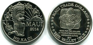 Maui 2014 Trade Dollar features Tiki