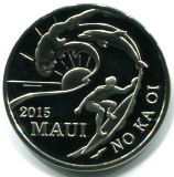 Maui 2015 Trade Dollar features surfer and dolphin