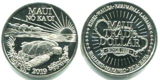 Maui 2019 Trade dollar features Hawaiian Green Sea Turtle