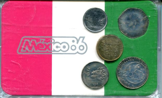 Mexico five coin set in holder, 1 - 100 Pesos 1984-85