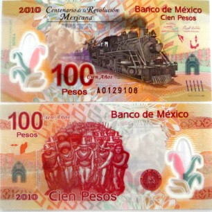 Mexico 100 Pesos 100th Anniversary of Mexican Revolution, 2010 (error type