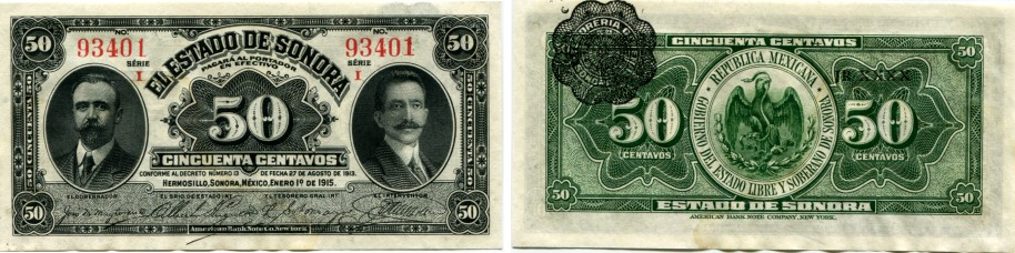 Mexican Revolution 50 Centavos banknote from Sonora portraying Francisco I Madero and Jose Maria Pino Suarez