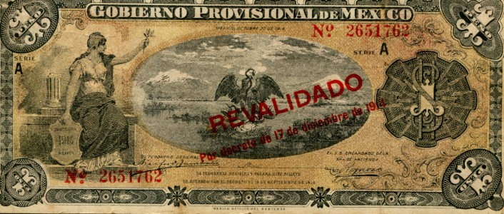 Mexico 1 Peso 1914 overprinted note