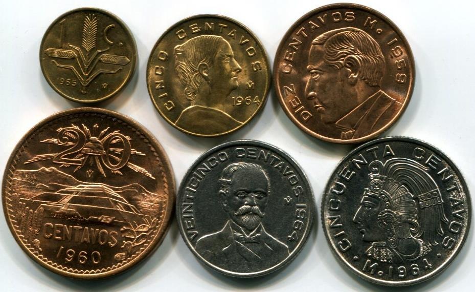 Mexican Coins And Banknotes