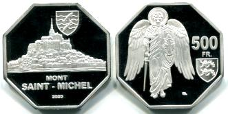 Mont Saint-Michel 500 Francs 2020 eight sided coin