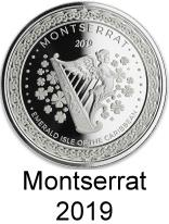 Montserrat 1 troy oz. silver 2 Dollar coins 2019 depicting Irish Harp