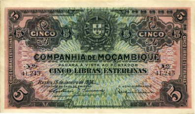 Mozambique Company, 5 Pounds Sterling 1934 PR32