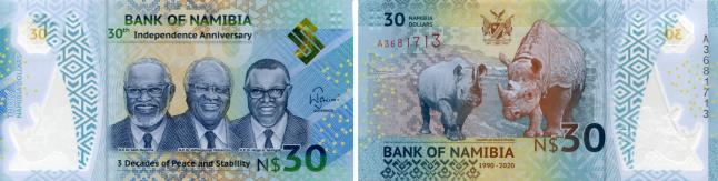 Namibia 30 Dollar bill 2020, 30th Anniversary of Independence