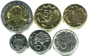 Namibia 6 coin set 5 cents - 10 Dollars