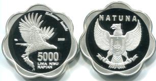 Natuna 5000 Rupiah 2020 coin depicts Fish Eagle