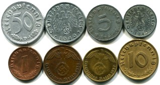 Nazi Germany 8 coin set: 1 - 50 Reichspfennigs