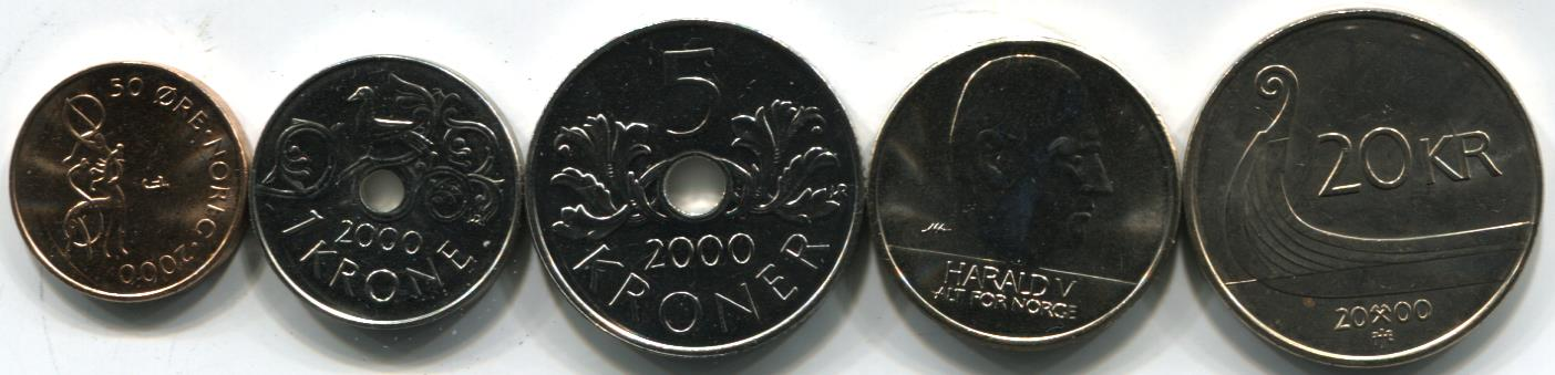 Norway Currency Coins Norway Coin Set Issued in 2000