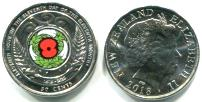 New Zealand 50 Cents 2018 Armistice Day color coin