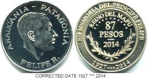 Araucania-Patagonia 87 Pesos 2014 correct date coin, Nickel-Silver
