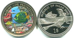 Palau 1 Dollar 2001 Emperor Angelfish / Mermaid on beach KM60
