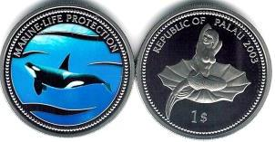 Palau $1 2003 Orca / Mermaid on half shell KM64