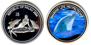 Palau $1 2004 Dolphin / Mermaid and 2 dolphins