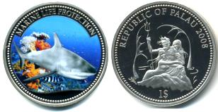 Palau Marine Life Protection Dollar 2008 Grey Reef Shark