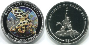 Palau sterling silver 5 Dollars Blue Ringed Octopus 2012 Proof coin
