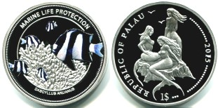Palau $1 2015 Marine Life Protection coin with 3 topless mermaids