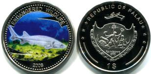 Palau multi-color 1 Dollar coin: 2008 Sturgeon
