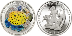 Palau Marine Life Protection Dollar 2014 Yellow Boxfish