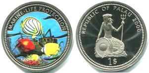 Palau 1 Dollar 4000 Buterflyfish & shipwreck / Mermaid with shield KM59