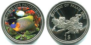 Palau 1 Dollar 2001 green fish / Prone Mermaid