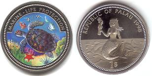 Palau $1 1998 Sea Turtle / Mermaid holding parrot