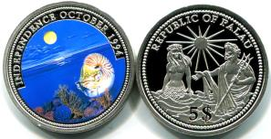 Palau silver 5 Dollars 1994, Nautilus / Neptune and topless mermaid