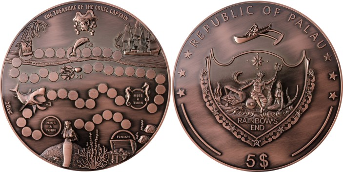 Palau 5 Dollars 2015 180mm bronze coin, The Treasure of The Cruel Captain