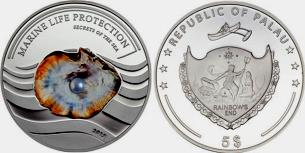 Palau 2013 silver proof 5 dollar coin with embedded pearl