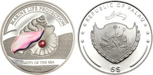 Palau 2014 Beauty of the Sea Pink Pearl coin