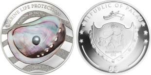 Palau 2015 silver proof 5 dollar coin with embedded pearl