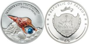 Palau 5 Dollars 2016 with a real embedded pearl