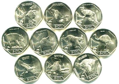 Peru 10 coin endangered wildlife set of 1 Sol coins