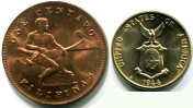 United States Commonwealth of the Philippines 1 & 5 Centavos 1944, San Francisco Mint