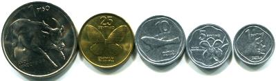 Philippines animal coins: 1 Centavo - 1 Piso