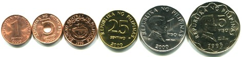 Philippines 6 coin set: 1 Sentimo - 5 Pisos 1995-2000
